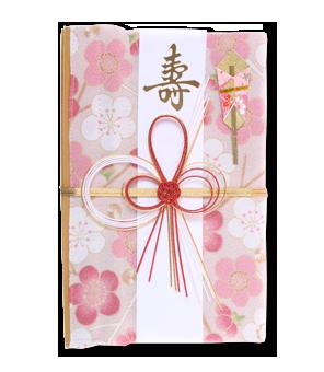 ご祝儀袋 結姫 青竹(ポリエステル)白桃福梅