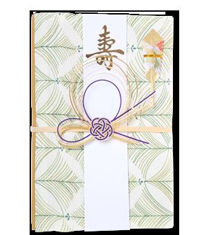 ご祝儀袋 結姫 赤松(シルク)緑葉薄丸