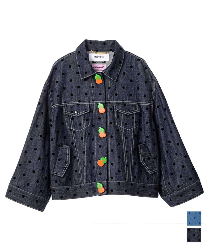 ドットプリントデニムジャケット