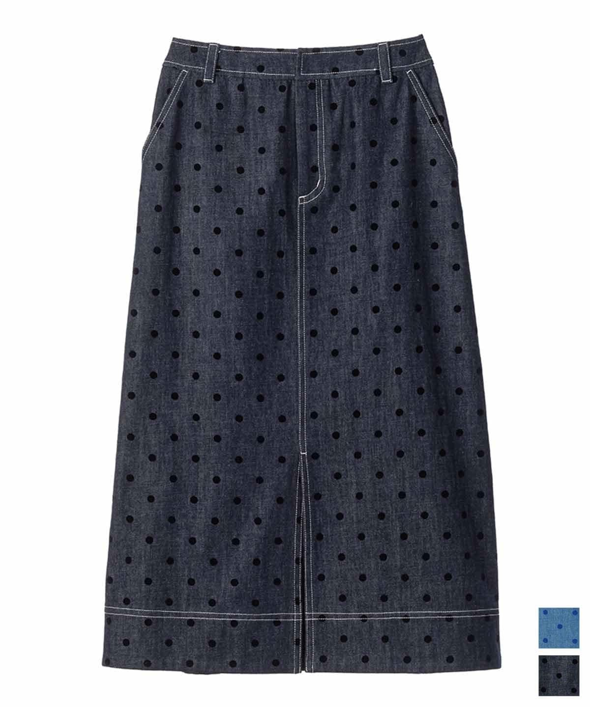 ドットプリントデニムスカート