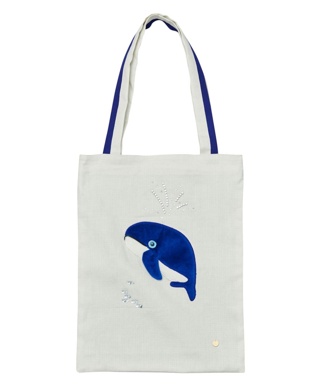 クジラ刺繍トート