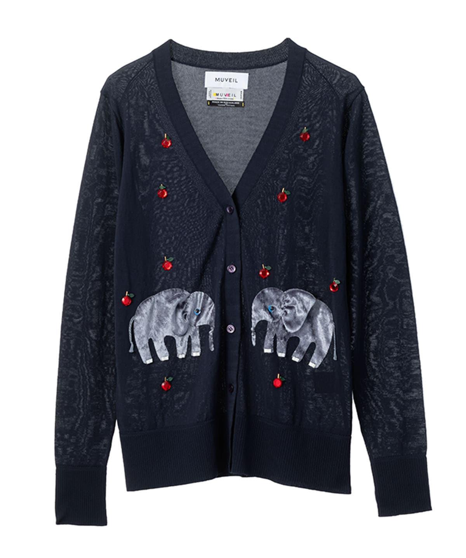 アニマルニット刺繍カーディガン ゾウ