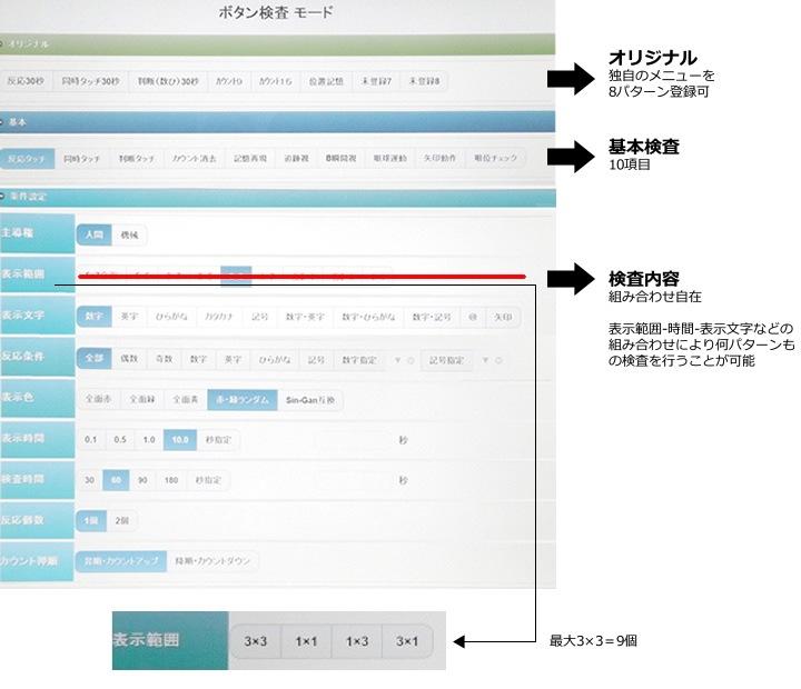 ボタン検査モード 操作画面