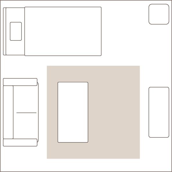 2畳のラグを敷いたイメージ図