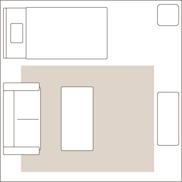 3畳のラグを敷いたイメージ図