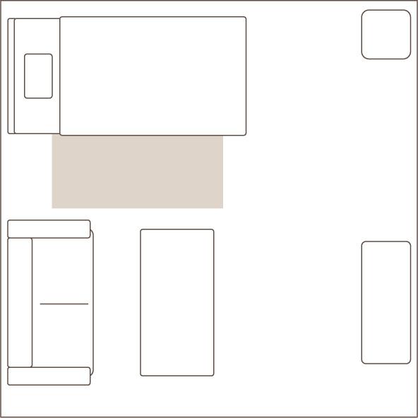 1畳のラグを敷いたイメージ図