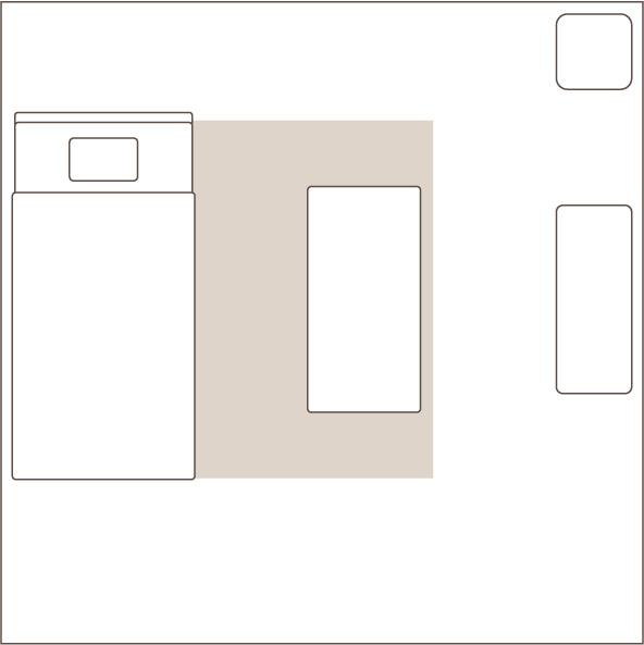 1.5畳のラグを敷いたイメージ図