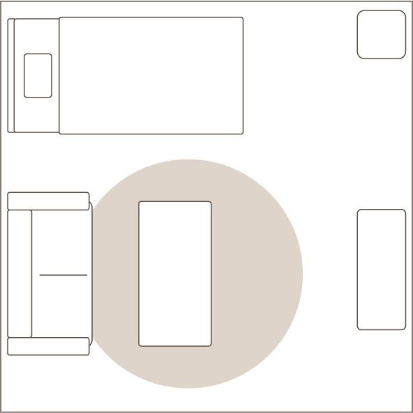 1.5畳の円形ラグを敷いたイメージ図