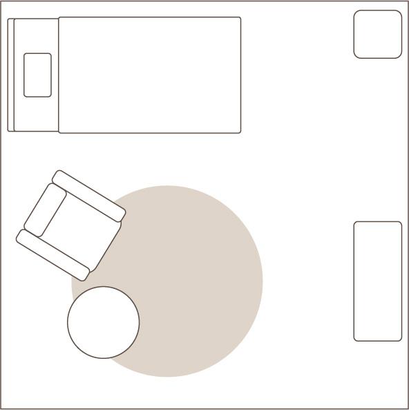 1畳の円形ラグを敷いたイメージ図