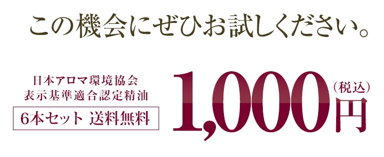 この機会にぜひお試しください。日本アロマ環境協会表示基準適合認定精油 6本セット送料無料 税込1,000円