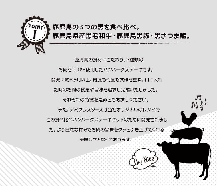 鹿児島の3つの黒を食べ比べ。鹿児島県産黒毛和牛・鹿児島黒豚・黒さつま鶏。