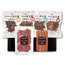 豚かしらの炭火焼き・豚ハラミの炭火焼・豚しろもつの炭火焼・牛肉炭火焼・豚タンパストラミスライス・めんたいチーズウインナー