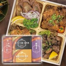 牛肉ごぼう巻・黒さつま鶏の炭火焼・豚軟骨味噌煮・豚角煮(皮付)