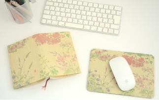 ふすま地ブックカバーとふすま地マウスパッドのセット
