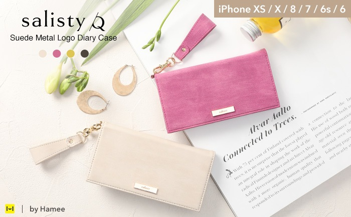 [iPhone XS/X/8/7/6s/6専用]salisty(サリスティ)Q スエード×メタルロゴ ダイアリーケース