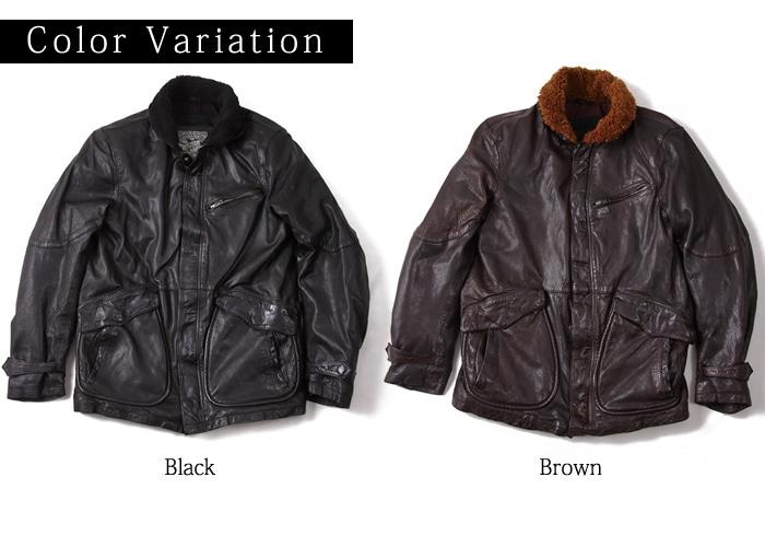 カラーはブラックとブラック DEGNER 17wj-5 レザージャケット デッキジャケット