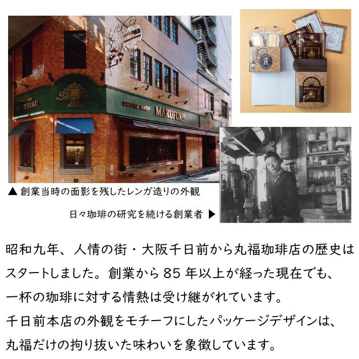 丸福珈琲店の千日前本店をモチーフにした箱にコーヒーとスイーツが入っています