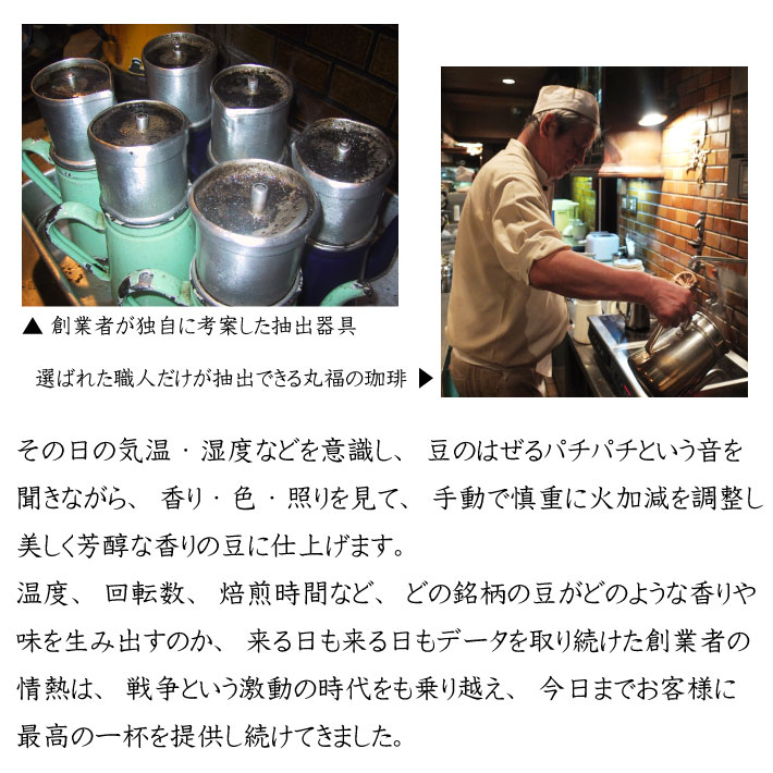 徹底的に拘った昔ながらの方法で自家焙煎する、丸福珈琲店の職人技