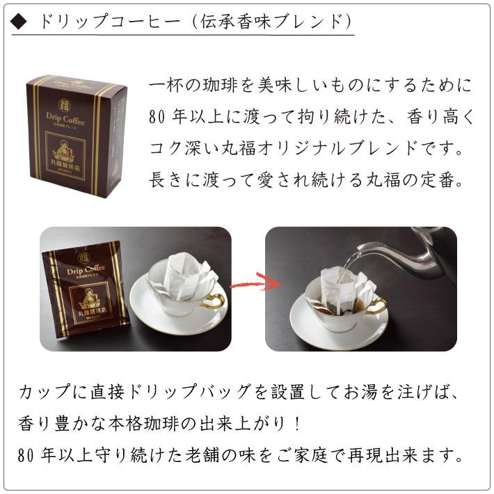簡単便利でギフトにも喜ばれる丸福珈琲店のドリップコーヒー伝承香味ブレンド