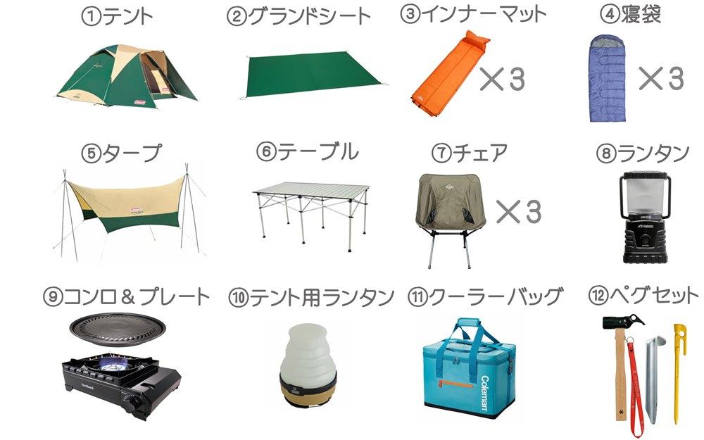 キャンプセットプレミアム3名様用小画像