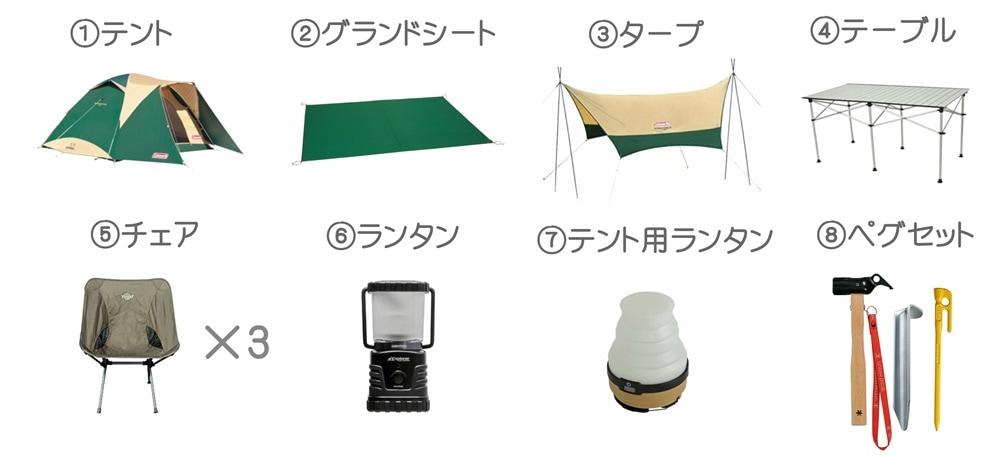 キャンプセットライト3名様用小画像