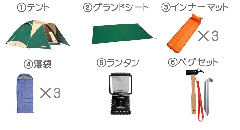 テントセット3名様用小画像