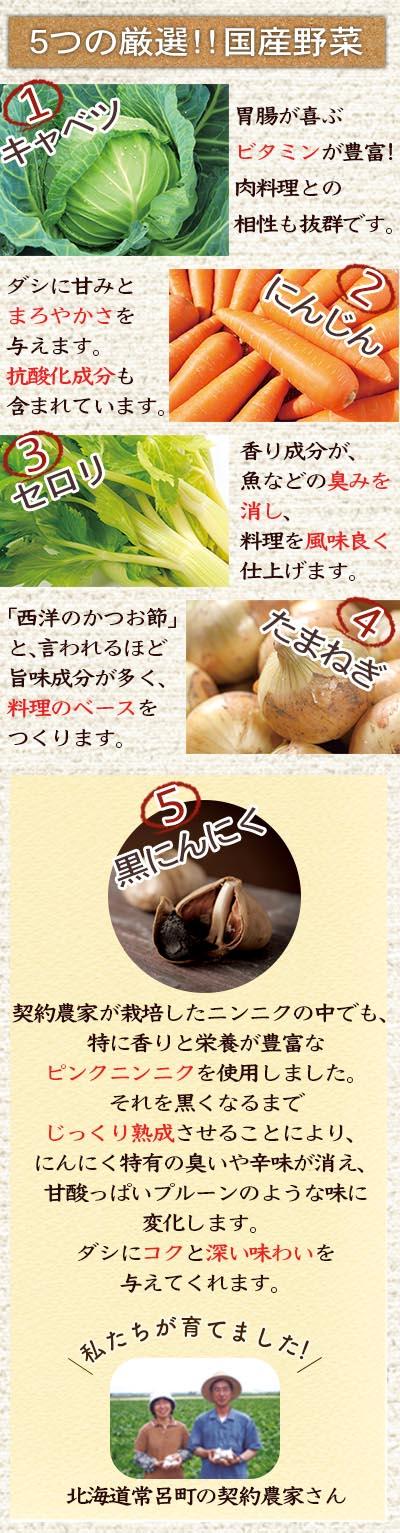 5つの厳選!!国産野菜
