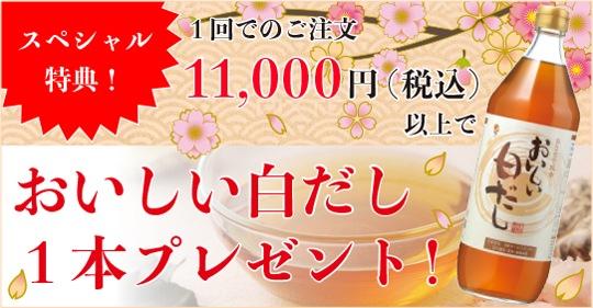 合計11,000円 (税込)以上ご購入でおいしい白だし1本プレゼント