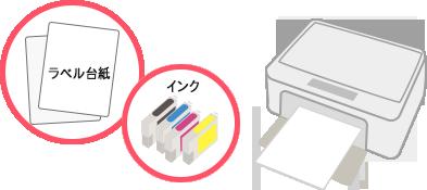 家庭用プリンター ラベル台紙 インク