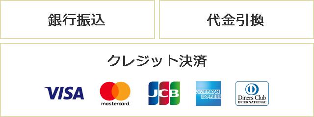 銀行振込 代金引換 クレジット決済 visa mastercard jcb amex diners