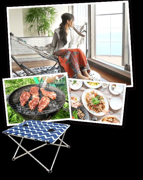 おいしい料理はおしゃれなテーブルで!便利な折り畳み式です。 / ALL ABOUT ACTIVITY PORTABLE TABLE