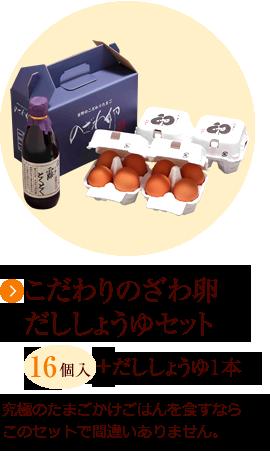 こだわりのざわ卵 だししょうゆセット 16個入+だししょうゆ1本