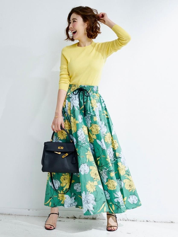 グリーンフラワーギャザースカート