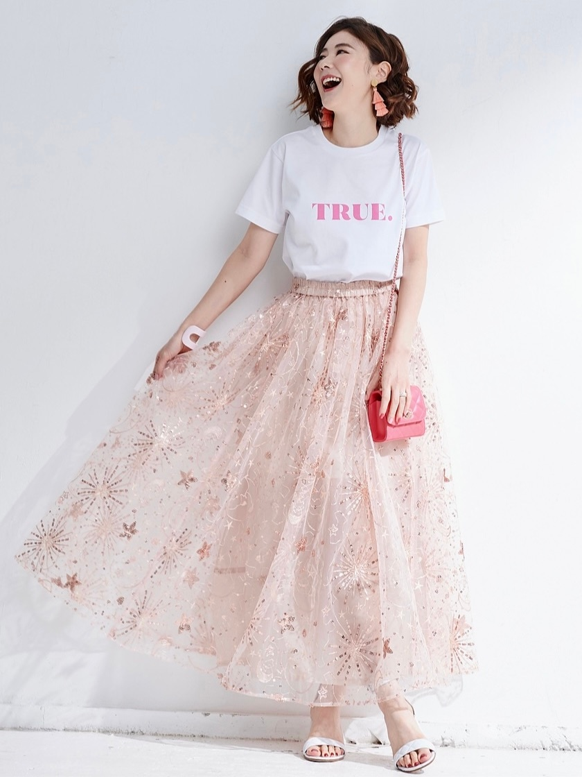 チュールスカート/ピンク