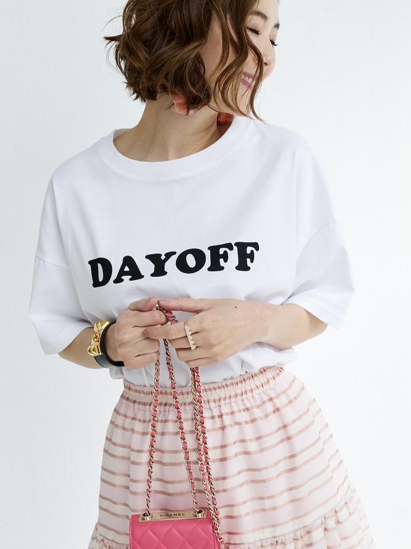 Dayoff Tシャツ/ホワイト×ブラック