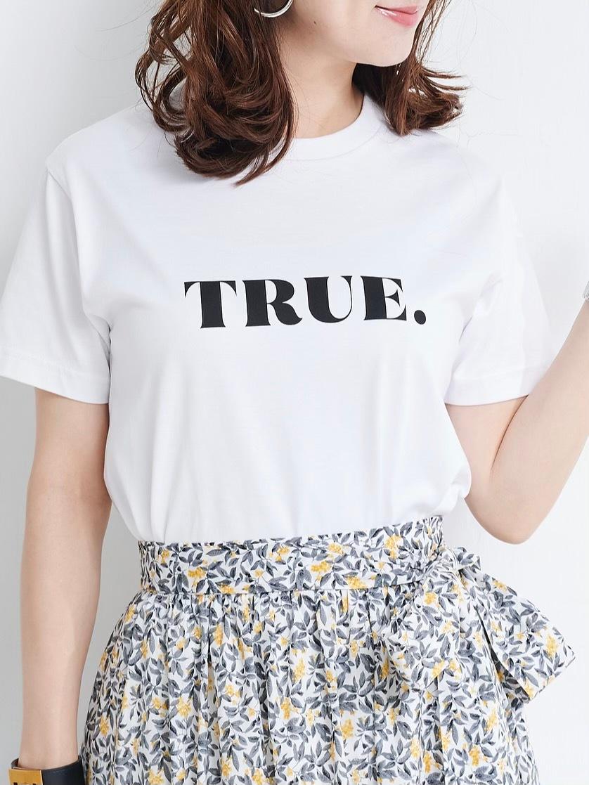 TRUE Tシャツ/ホワイト×ブラック