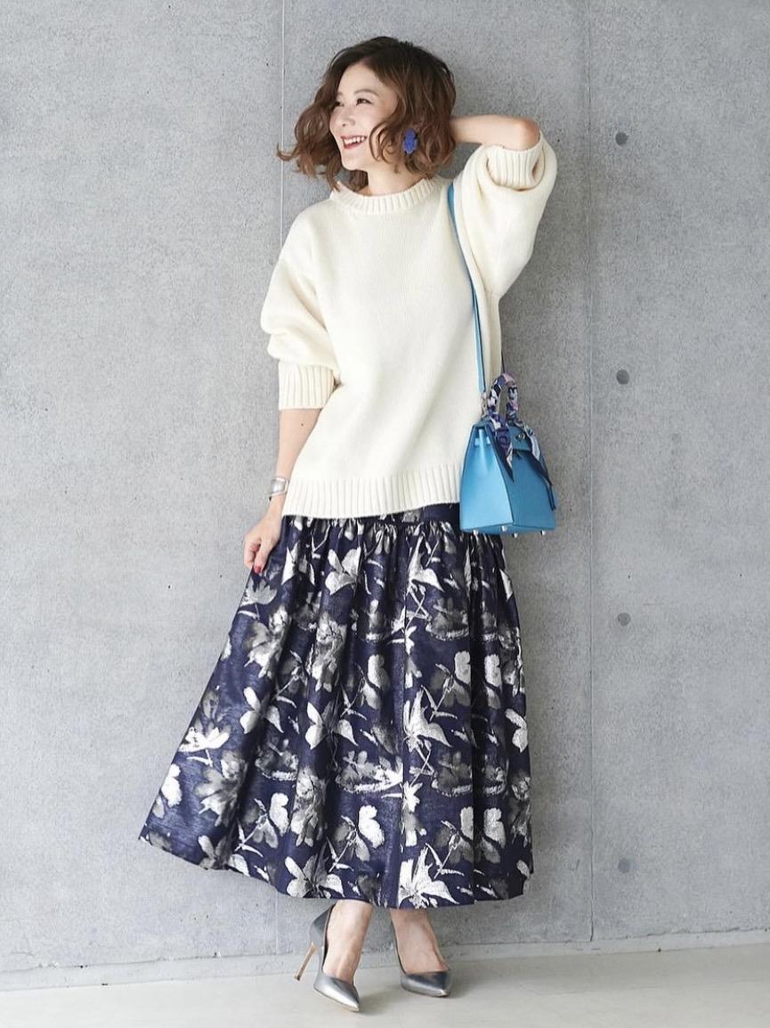 バックリボンスカート/ネイビーホワイトニット