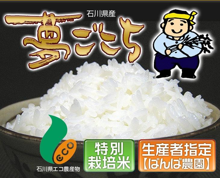 石川県産夢ごこち(石川県エコ農産物)特別栽培米・生産者指定(ばんば農園)
