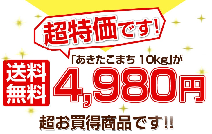 あきたこまち10kgが送料無料5280円超お買得商品です!!