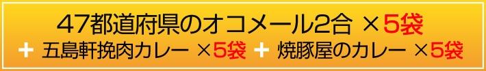 47都道府県のオコメール2合×5パック+五島軒挽肉カレー5パック、焼豚屋カレー5パック