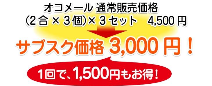 オコメール2合×3個セット×3セット 3000円