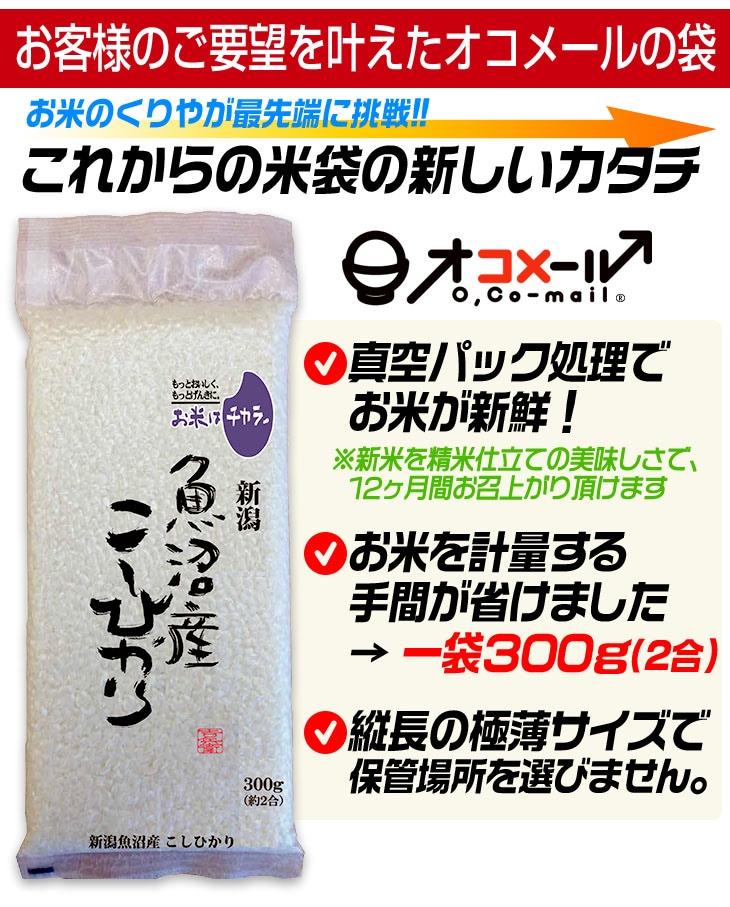 真空パック処理でお米が新鮮!計量の手間も省ける300g。縦長の極薄サイズで保管場所を選びません