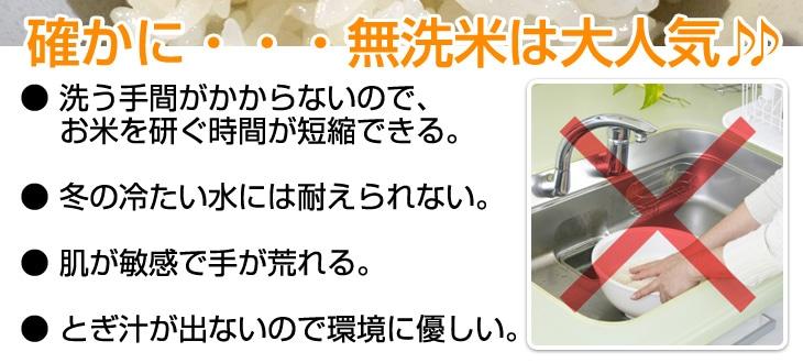 無洗米は以下の理由で大人気● 洗う手間がかからないので、お米を研ぐ時間が短縮できる。● 肌が敏感で手が荒れる。