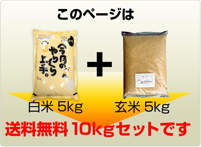 このページは白米5kgと玄米5kgの合計10kgの送料無料セットです