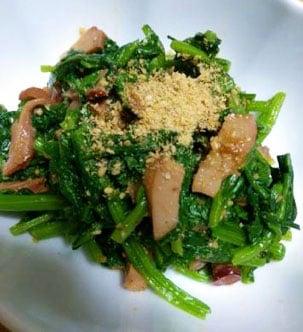 青菜とタコの醤油麹煮の和え物