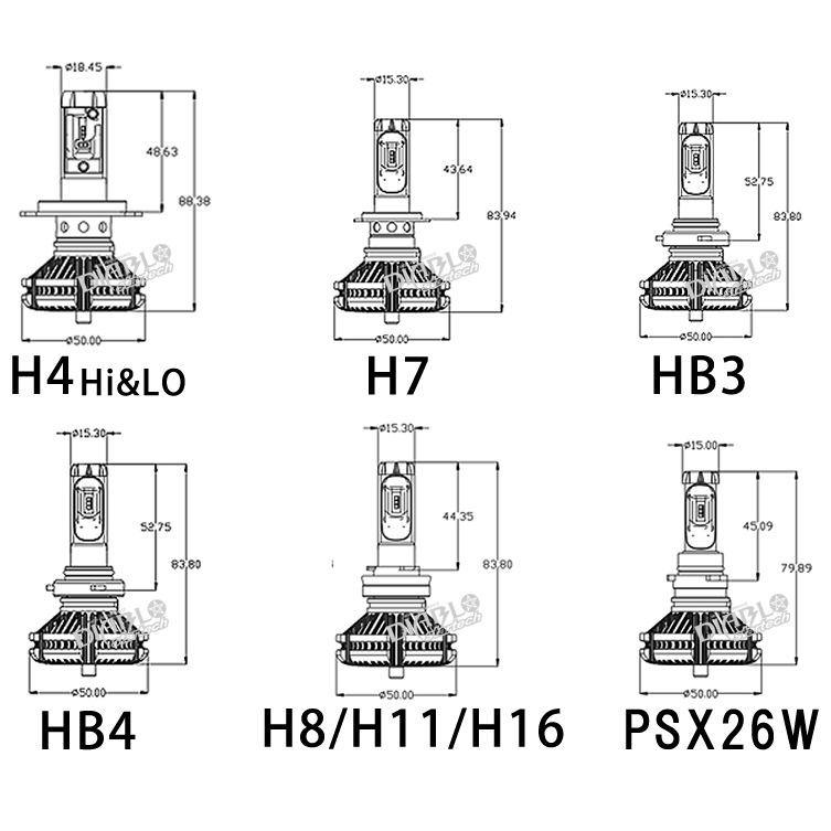 HB8 H11 H16 HB3 HB4 PSX26W