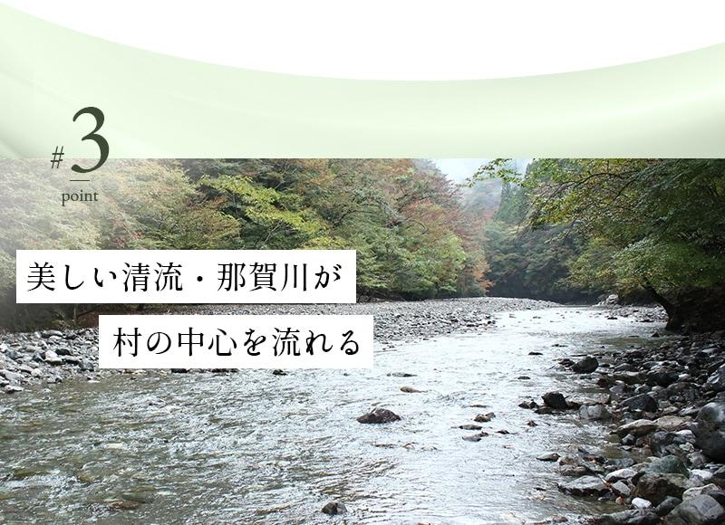 美しい清流・那賀川が村の中心を流れる