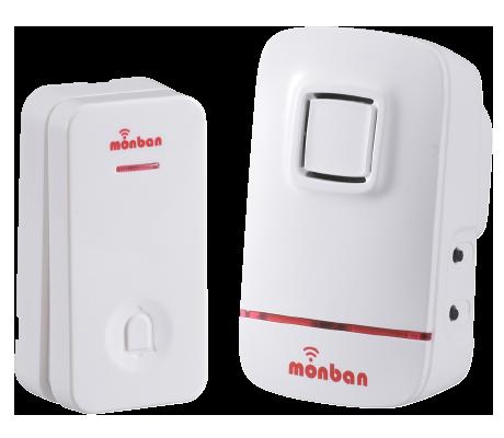 monban ワイヤレスコールチャイム 瞬間発電式押しボタン送信機+AC式受信機|OCH-ECL80 08-0520