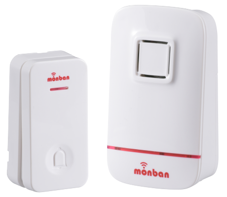 monban ワイヤレスコールチャイム 瞬間発電式押しボタン送信機+電池式受信機|OCH-EC80 08-0521