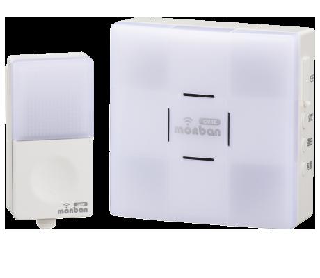 monban CUBE 押しボタン送信機+光フラッシュ電池式受信機|OCH-SET22-BLUE 08-0522 オーム電機